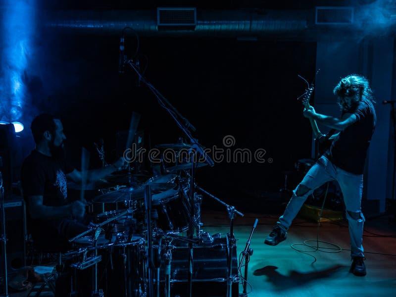 Adrenalin Dose at Pollo Metal Fest BG 26-08-2018. Bergamo, Italy - August 26, 2018: Italian Grunge-St0ner band Adrenalin Dose performs at Pollo Metal Fest at stock photos