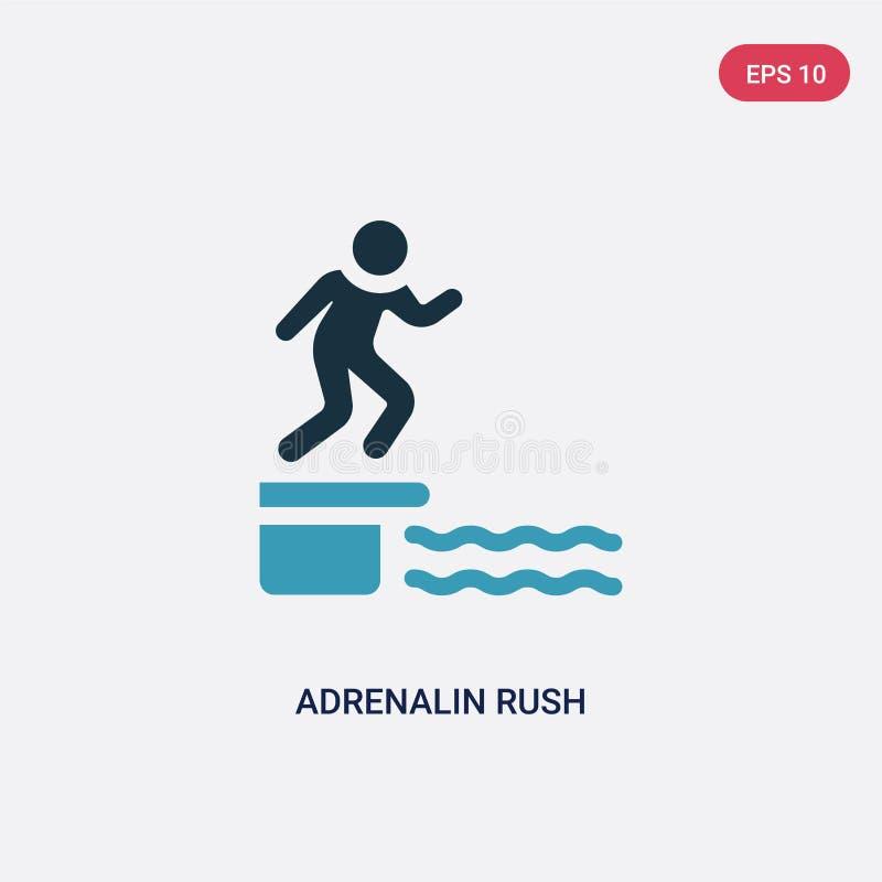Adrenalin för två färg rusar vektorsymbolen från bastubegrepp isolerat blått adrenalin rusar vektorteckensymbol kan vara bruk för royaltyfri illustrationer