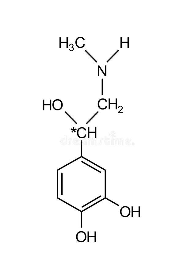 adrenaline chemische formule stock afbeelding