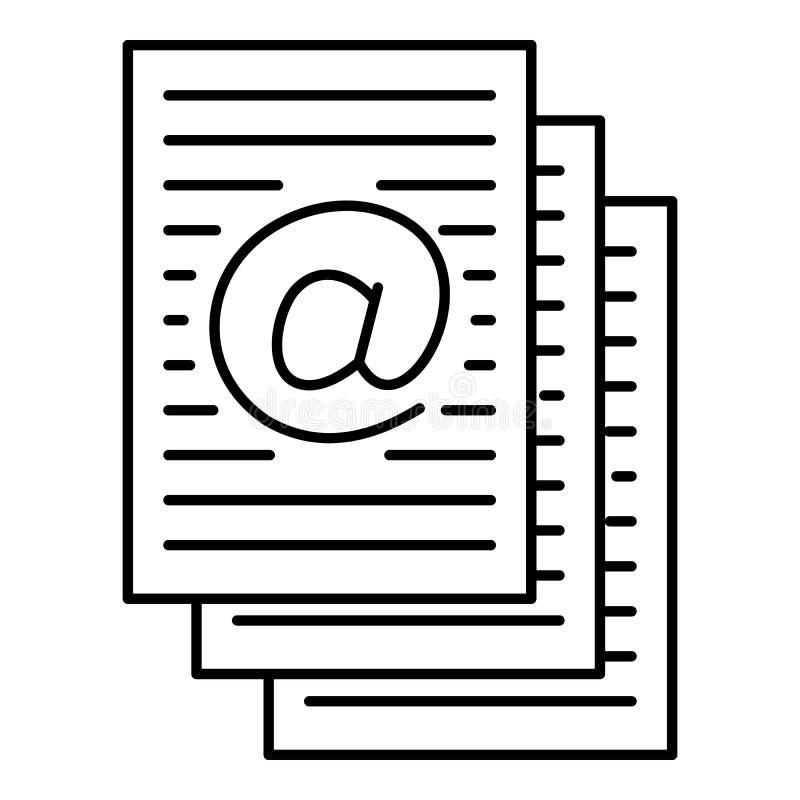 Adres ciąć na arkusze ikonę, konturu styl royalty ilustracja