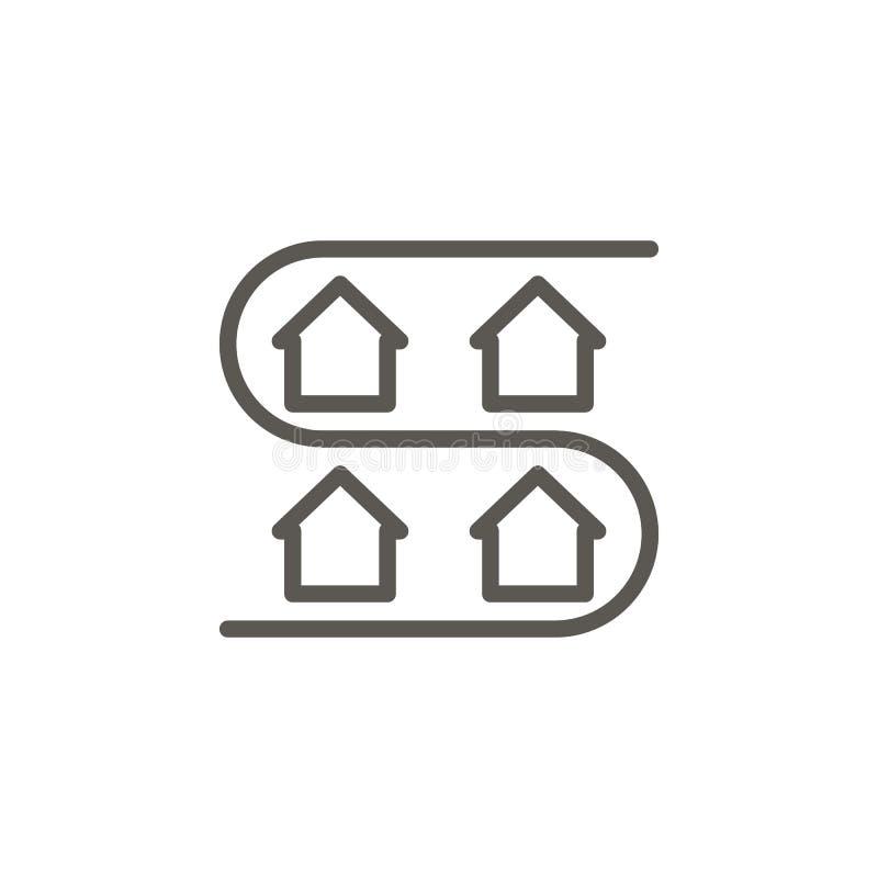 Adres, district, huis, buurt vectorpictogram Het eenvoudige concept van de elementenillustratie Adres, district, huis, buurt royalty-vrije illustratie