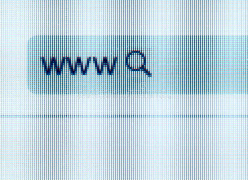 Adresbar van Internet-browser met een onderzoekspictogram stock fotografie