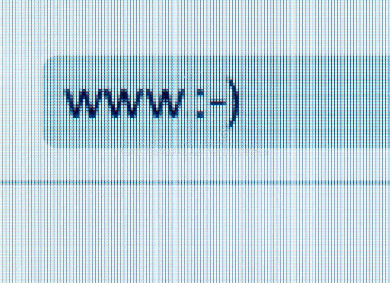 Adresbar van Internet-browser met smiley op computerscr stock foto