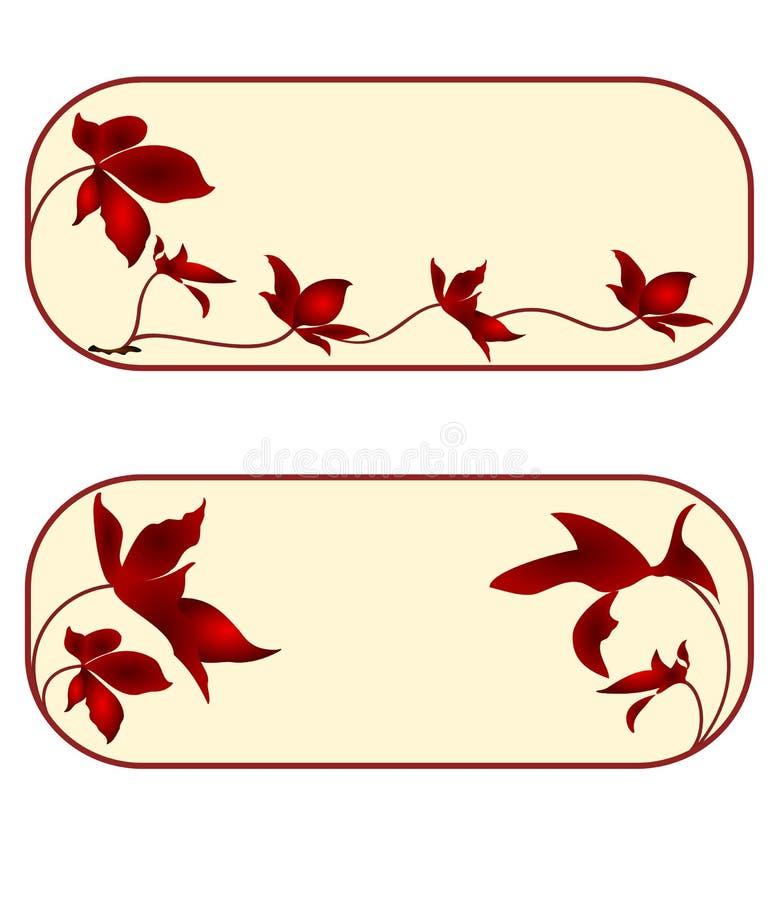 Adreskaartje, bloemen, rechthoek, tweede reeks stock illustratie