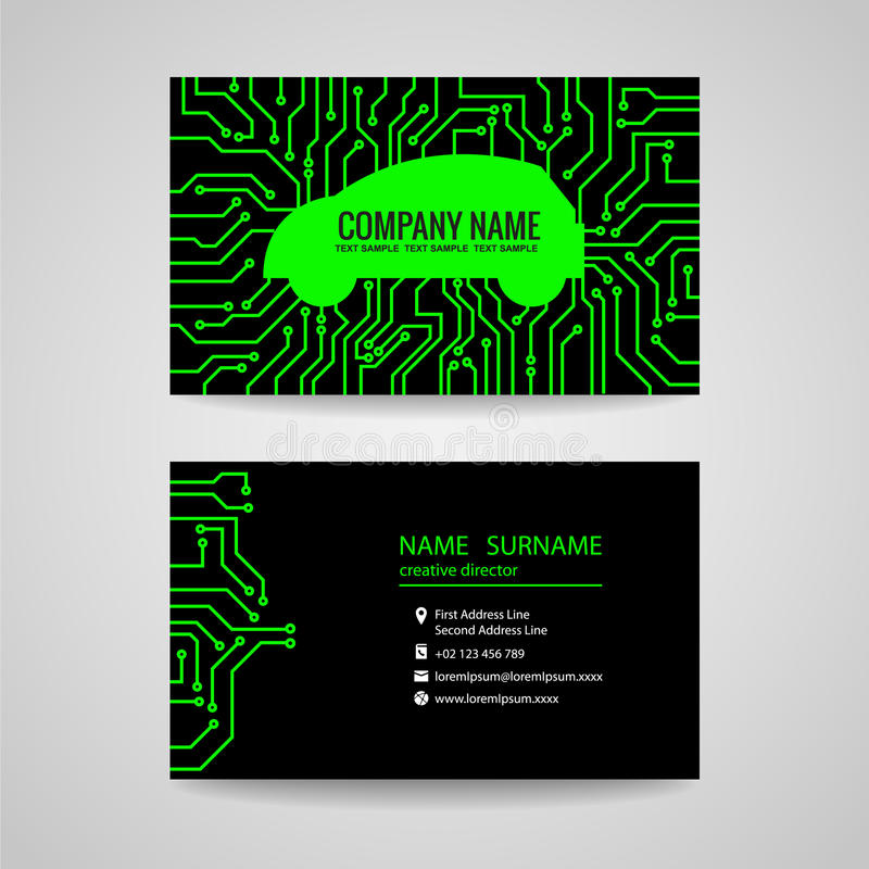 Adreskaartje - Groene auto en Elektronische Gedrukte kringsraad op zwarte achtergrond stock illustratie