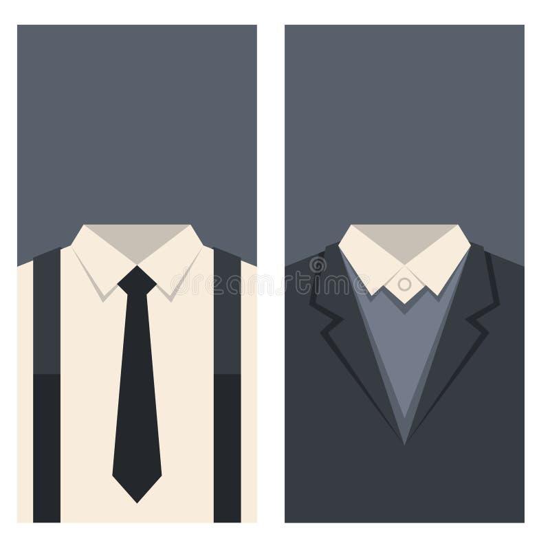 Adreskaartje met Kostuums en Bandenontwerp Vector stock illustratie