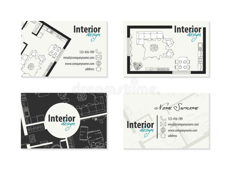Adreskaartje voor binnenlandse ontwerper, decorateur royalty-vrije illustratie