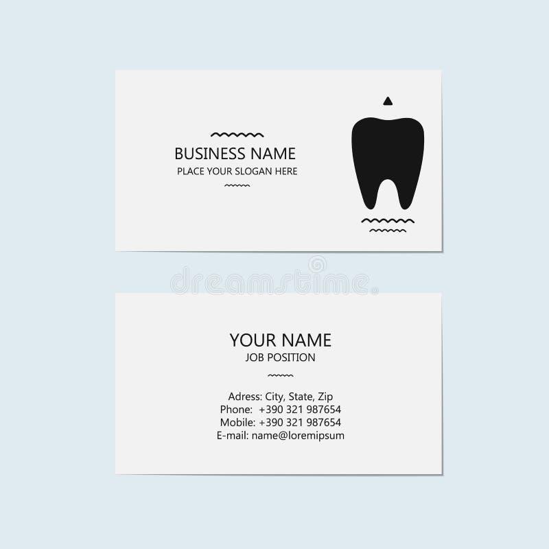 Adreskaartje voor een tandarts (tandkliniek) royalty-vrije illustratie