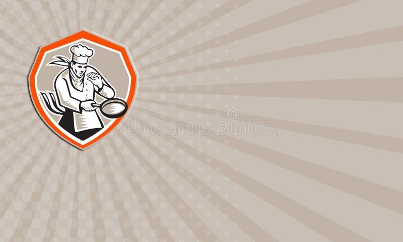 Adreskaartjechef-kok Cook Holding Frying Pan Retro stock illustratie