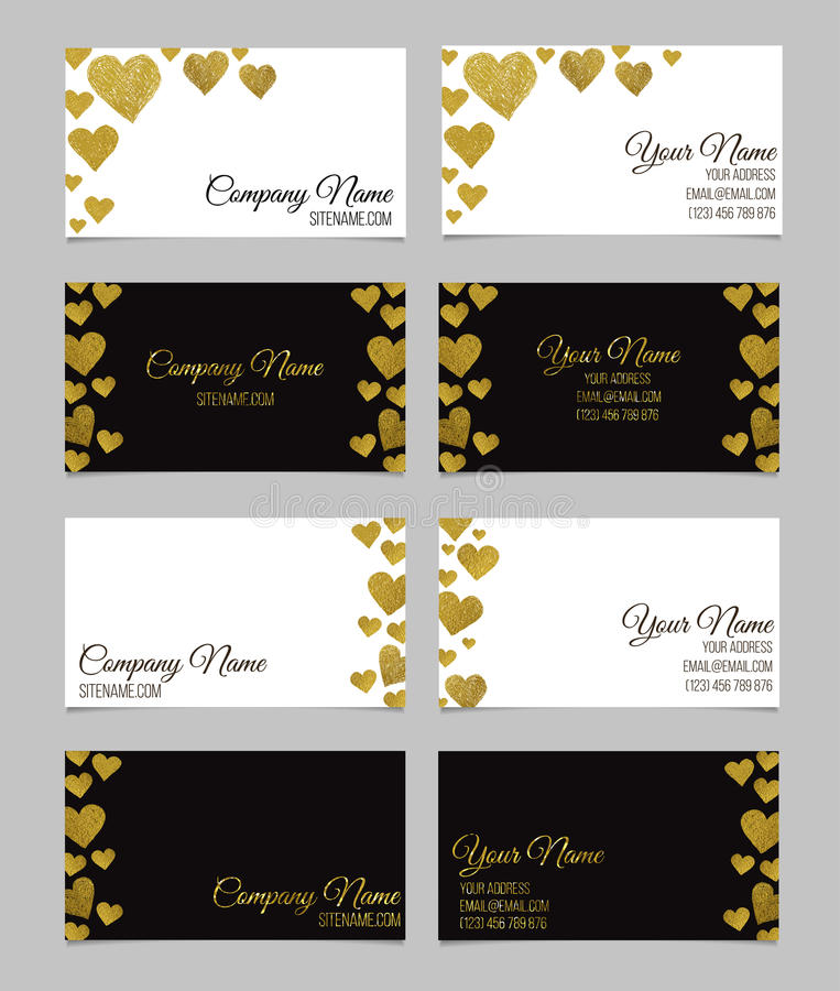 Adreskaartjemalplaatje of visitekaartje met gouden de vormontwerp dat van het foliehart wordt geplaatst stock illustratie
