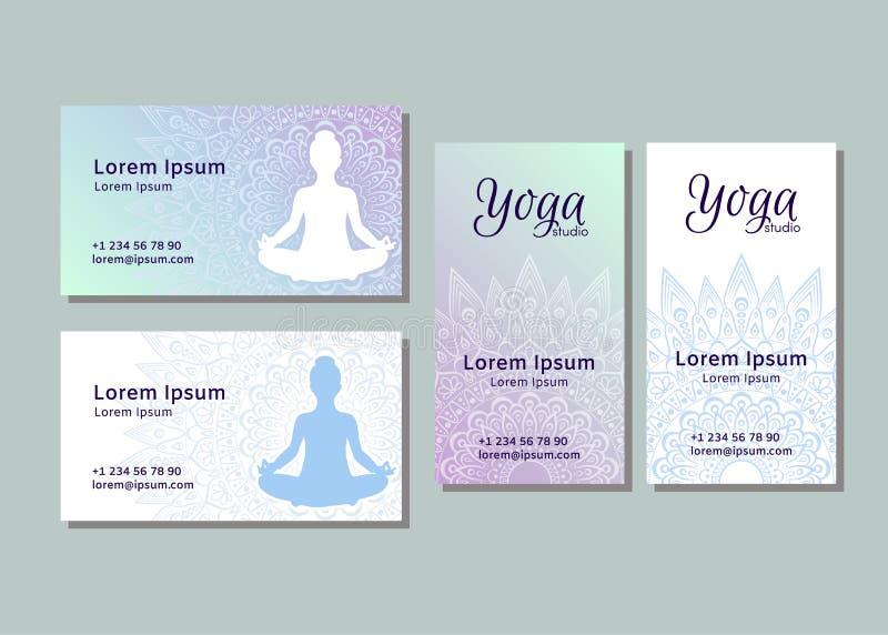 Adreskaartjemalplaatjes voor yogastudio royalty-vrije illustratie
