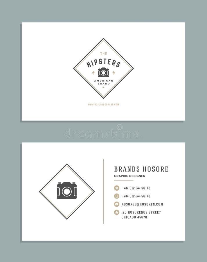 Adreskaartjeontwerp en Retro Logo Template De vector Uitstekende Stijl van het Ontwerpelement voor Logotype royalty-vrije illustratie