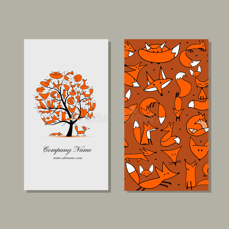 Adreskaartjeontwerp, foxy boom royalty-vrije illustratie