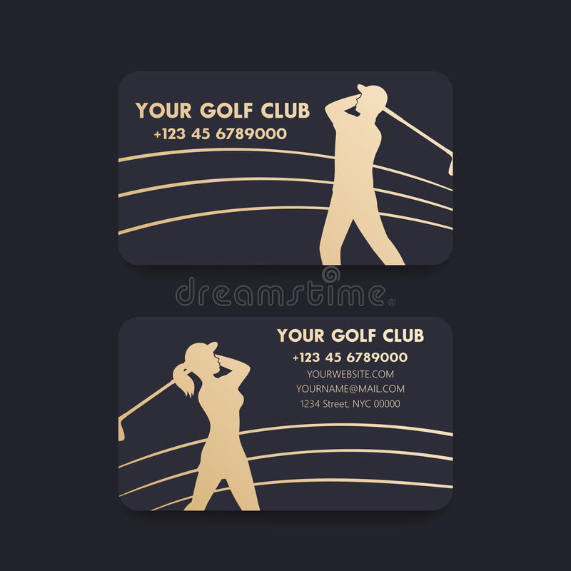 Adreskaartjeontwerp voor golfclub met spelers vector illustratie