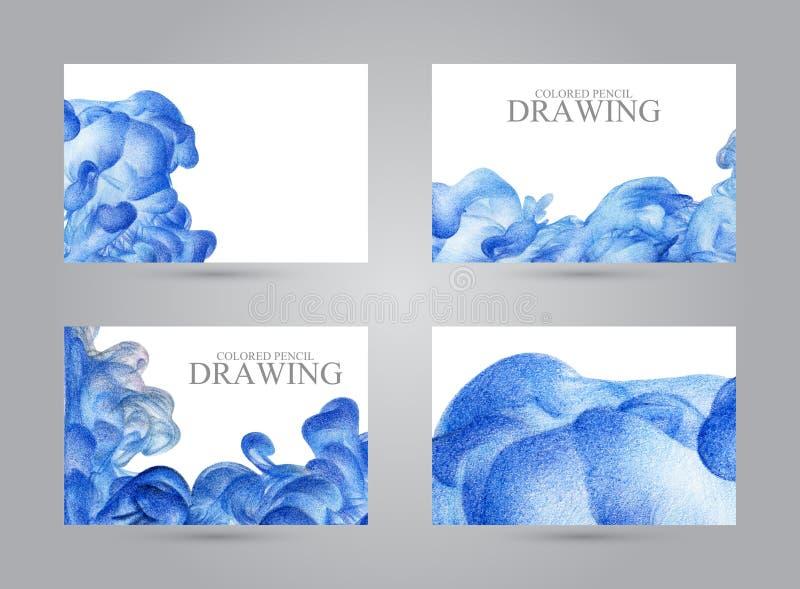 Adreskaartjes met abstracte die wolk van inkt met de hand met col. wordt getrokken stock illustratie