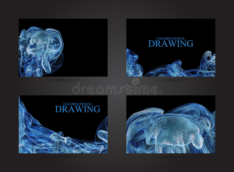 Adreskaartjes met abstracte die wolk van inkt met de hand met col. wordt getrokken royalty-vrije illustratie