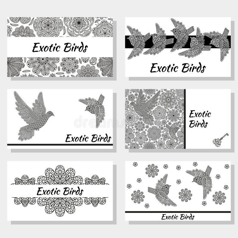 Adreskaartjes met creatieve decoratieve vogels en bloemen Zwart-witte kleuren stock illustratie