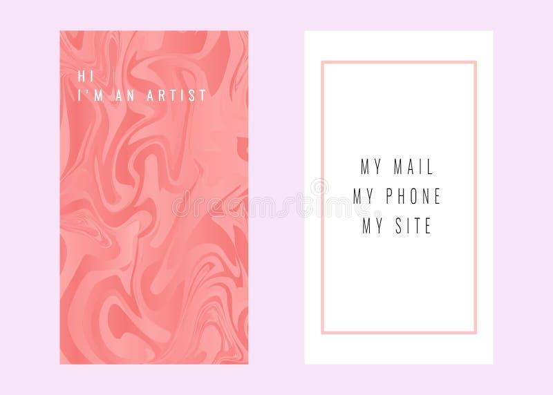 Adreskaartjes met marmeren textuur Het brandmerken en identiteitsvector stock afbeeldingen