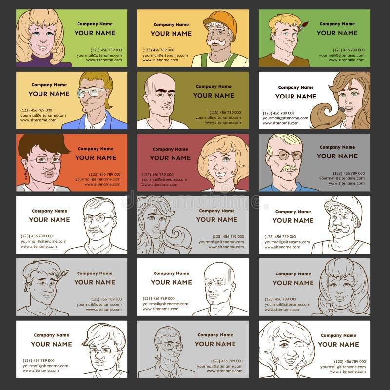 Adreskaartjes met Mensenmalplaatjes royalty-vrije illustratie