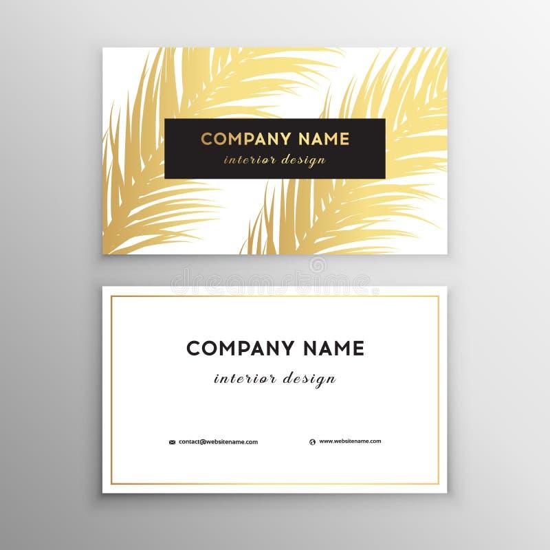 Adreskaartjes tropisch grafisch ontwerp, tropisch palmblad Vector illustratie Het creatieve ontwerp van het adreskaartjemalplaatj royalty-vrije illustratie