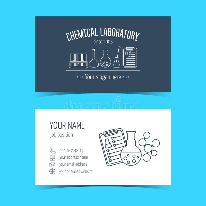 Adreskaartjes voor chemisch laboratorium en wetenschappelijke bedrijven Promotieproducten Vector vector illustratie