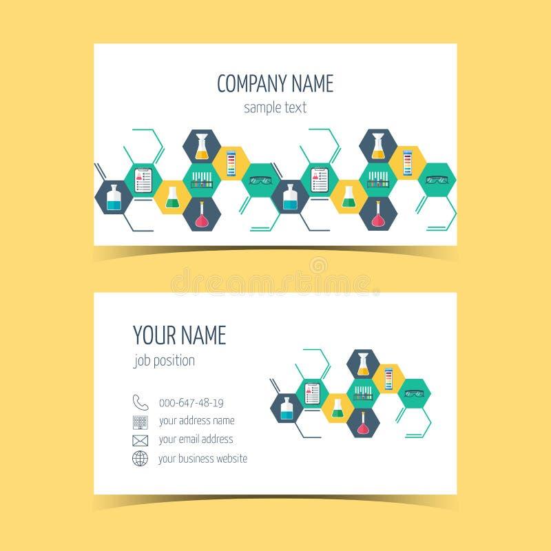 Adreskaartjes voor chemische en wetenschappelijke bedrijven Promotieproducten Vector vector illustratie