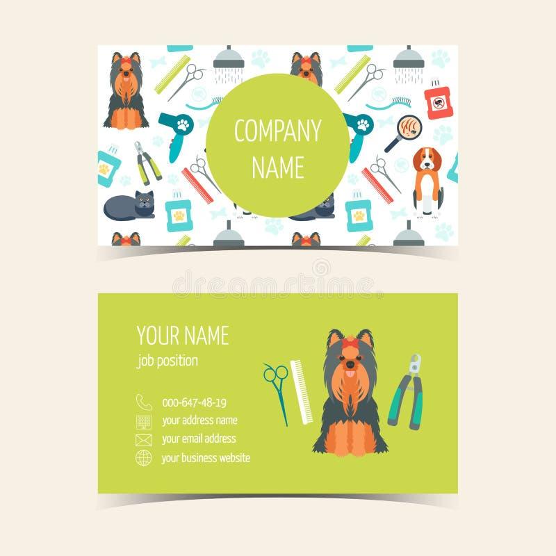 Adreskaartjes voor het dierlijke verzorgen Promotieproducten Vlak Ontwerp Vector vector illustratie