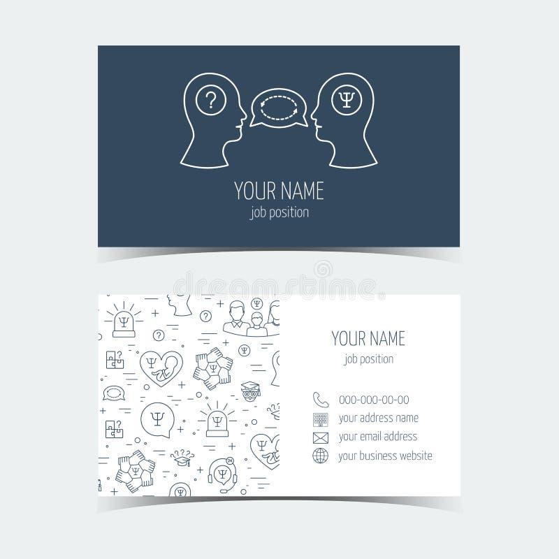 Adreskaartjes voor psychologiehulp Promotieproducten Vlak Ontwerp Vector stock illustratie