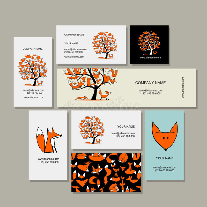 Adreskaartjesinzameling, foxy boomontwerp royalty-vrije illustratie