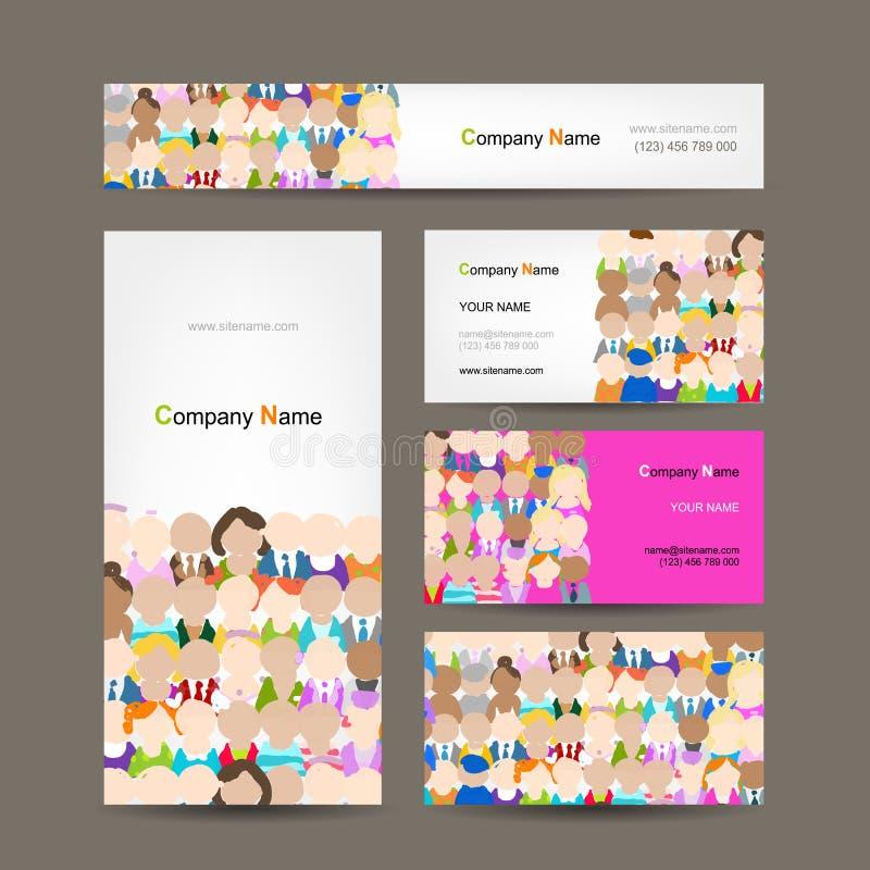Adreskaartjesinzameling, het ontwerp van de mensenmenigte vector illustratie