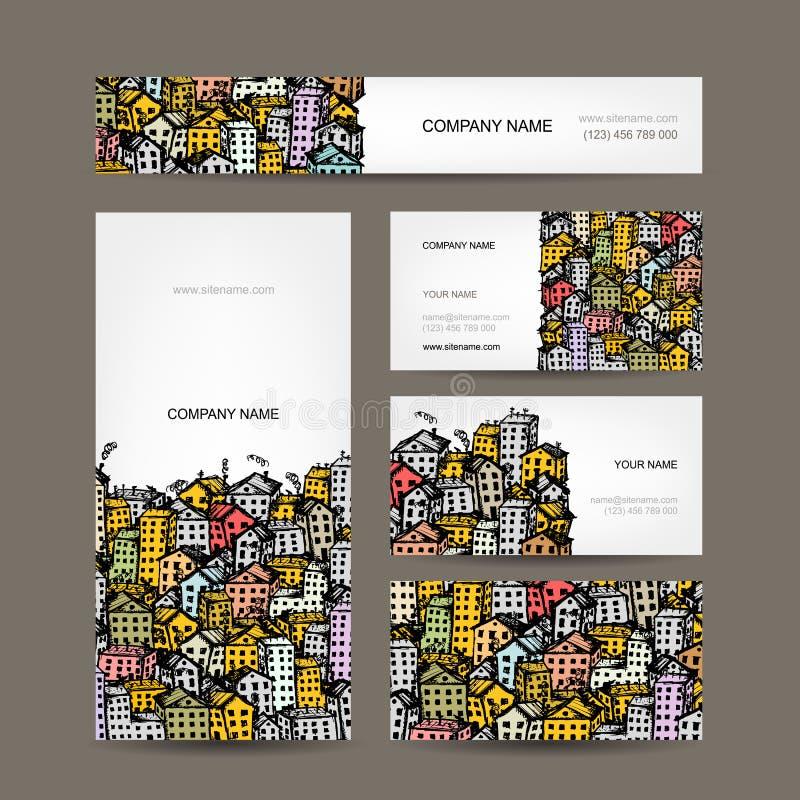 Adreskaartjesontwerp, cityscape schets vector illustratie