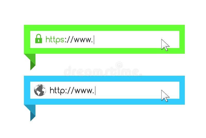 Adresse et conception de barre de navigation illustration de vecteur