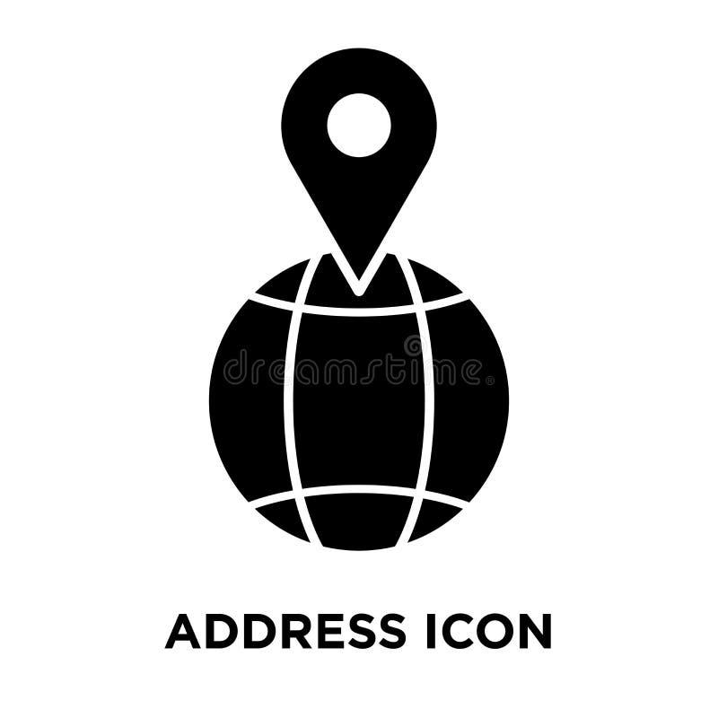 Adressieren Sie den Ikonenvektor, der auf weißem Hintergrund, Logokonzept O lokalisiert wird stock abbildung
