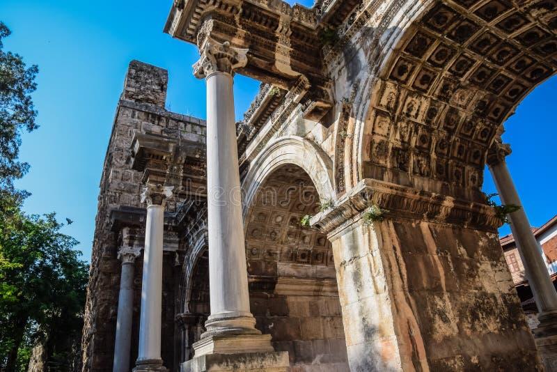Adrian Gate, Antalya landmark, Turkey. Antique construction of marble and. Adrian Gate, Antalya landmark, Turkey. Antique ancient construction of marble and stock photography