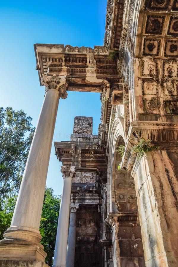 Adrian Gate, Antalya landmark, Turkey. Antique construction of marble and. Adrian Gate, Antalya landmark, Turkey. Antique ancient construction of marble and royalty free stock image