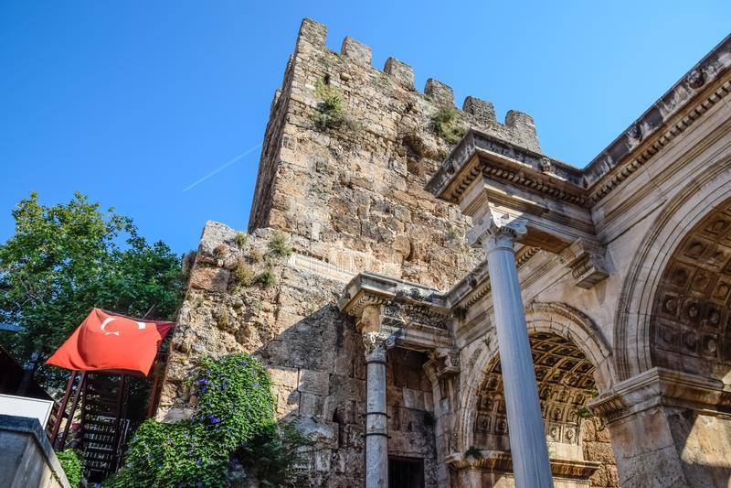 Adrian Gate, Antalya landmark, Turkey. Antique construction of marble and. Adrian Gate, Antalya landmark, Turkey. Antique ancient construction of marble and stock photo