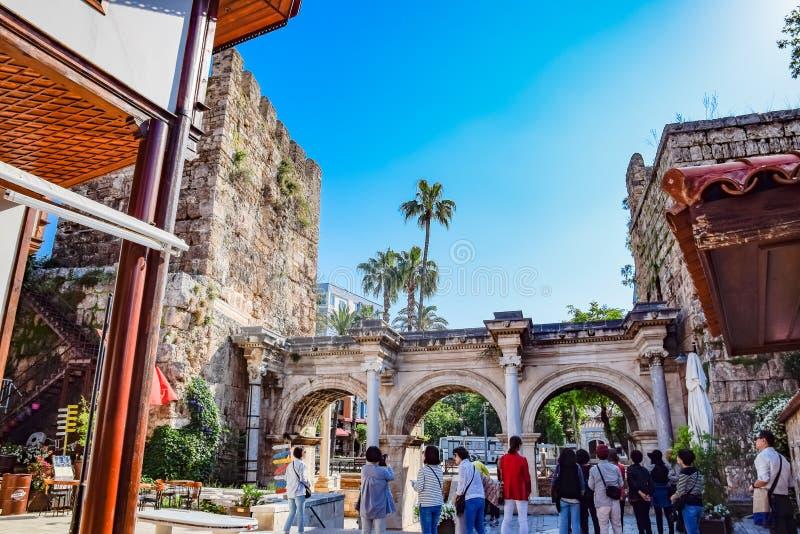 Adrian Gate, Antalya landmark, Turkey. Antique construction of marble and. Antalya, Turkey - May 19, 2019: Adrian Gate, Antalya landmark, Turkey. Antique ancient royalty free stock image