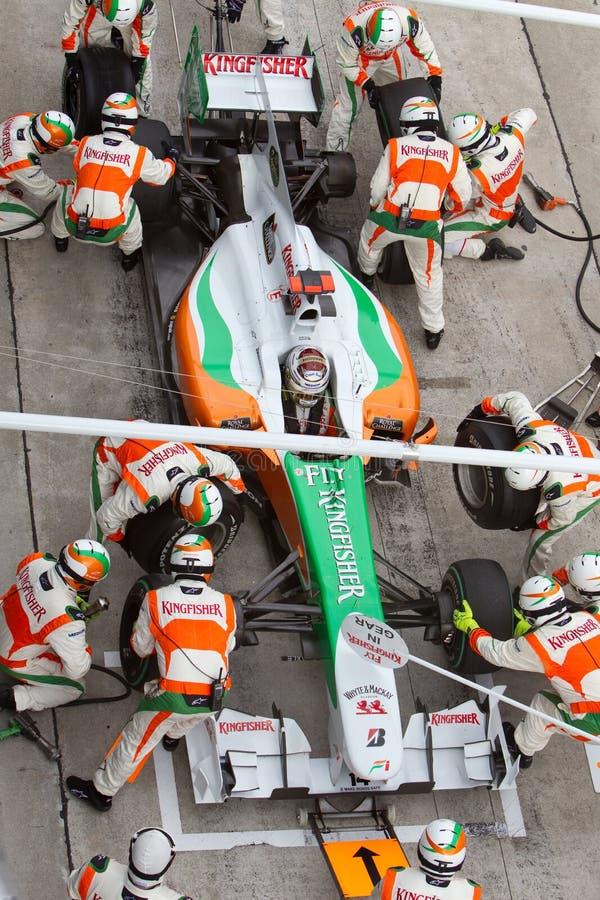 Adrian Sutil bildet an der malaysischen Formel 1 Löcher stockfoto