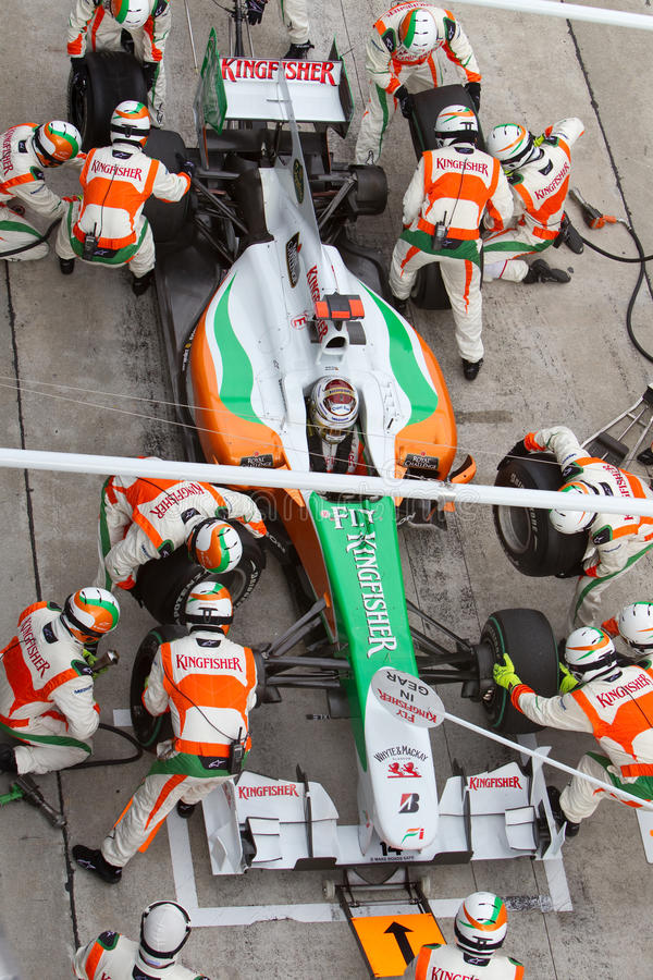 Adrian Sutil pits na fórmula malaia 1 foto de stock