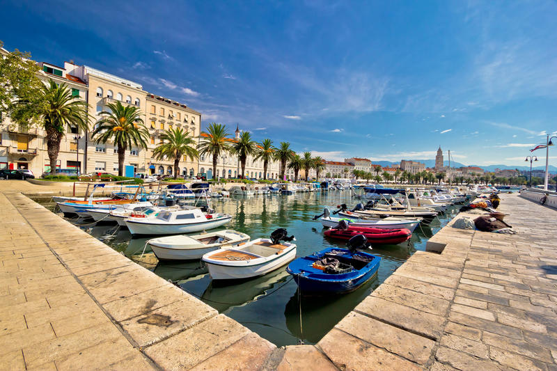 Adriatic city of Split view. Adriatic city of Split seafront view, tourist destination in Croatia, Dalmatia stock image