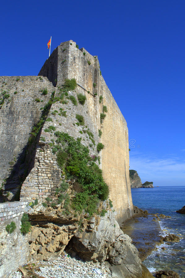 Adriatic coast citadel,Budva,Montenegro. Budva is notable for its long history and its well preserved Old Town,as well as with the beautiful sandy beaches.The stock image