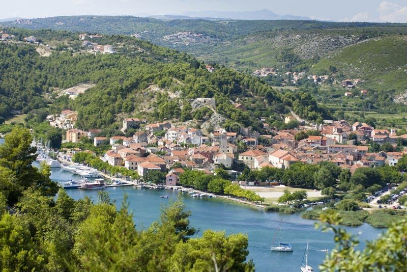 adriatic miasta wybrzeża skradin mały fotografia royalty free