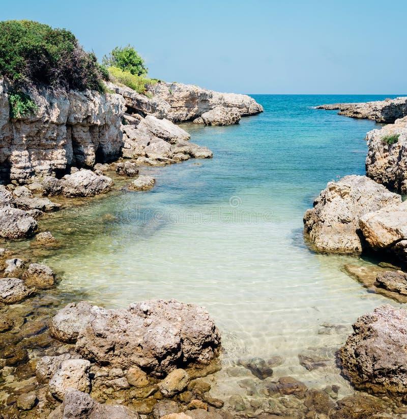 Adriatic Sea, Cala del Diavolo in Monopoli Puglia. Italy royalty free stock images