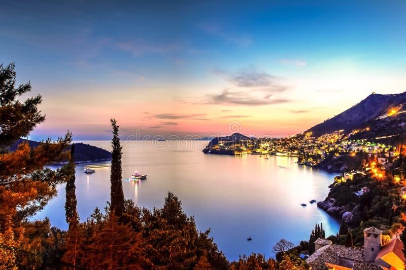 The Adriatic sea and Dubrovnik stock photo