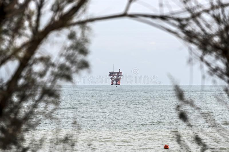 Offshore drilling platform. Adriatic sea offshore drilling platform stock images