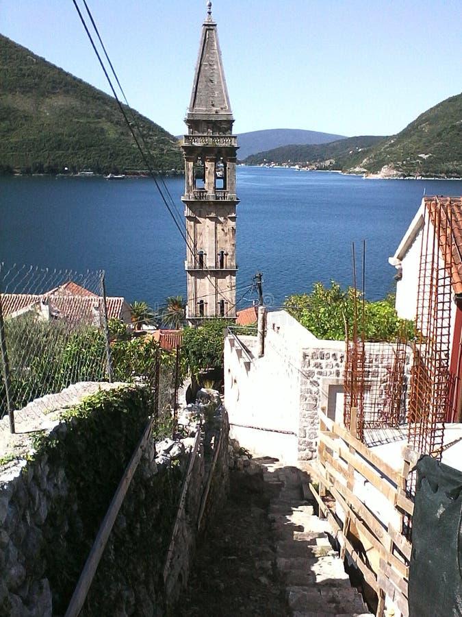 Adriatik morze Perast, Bok Kotorska, Montenegro zdjęcie stock