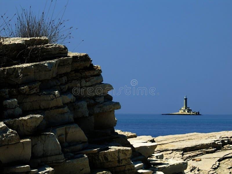 Adriatische kustlijn - vuurtoren Porer stock foto's