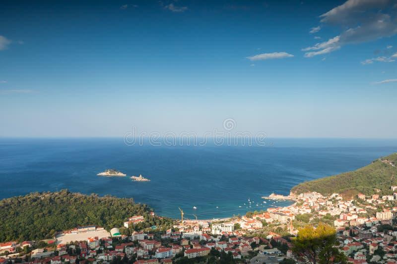 Adriatische Overzeese Kust. Petrovac, Montenegro stock foto's