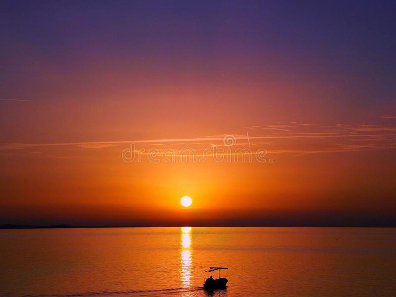 Adriatische Zonsondergang stock afbeelding