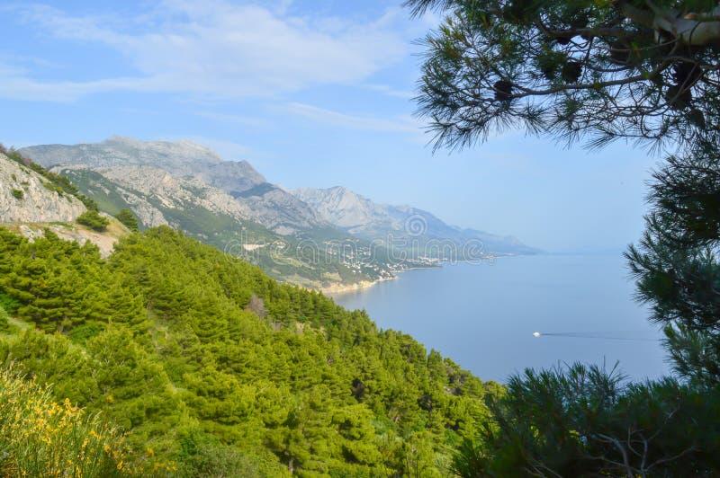 Adriatiskt havkust Makarska riviera av Dalmatia arkivfoto